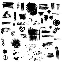 Set or collection of Black ink vector stains