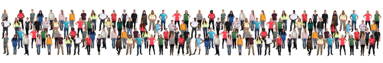 Junge Leute Menschen People Gruppe Menschengruppe multikulturell in einer Reihe bunt