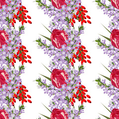 Seamless pattern with cute flowers and berries . Hand-drawn floral background for textile, cover, wallpaper, gift packaging, printing, scrapbooking.Romantic design for calico.