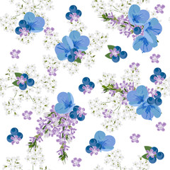 Seamless floral pattern with cute blue flowers and berries on white background.For textile, cover, wallpaper, gift packaging, printing, scrapbooking.Romantic design for calico.