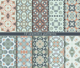 Set of vector seamless abstract pattern.