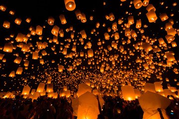 Floating lantern is released to the sky with the believe that the bad thing is going and the lucky is coming instead. They have this celebration in Loy Kratong day at Chiangmai province of Thailand.