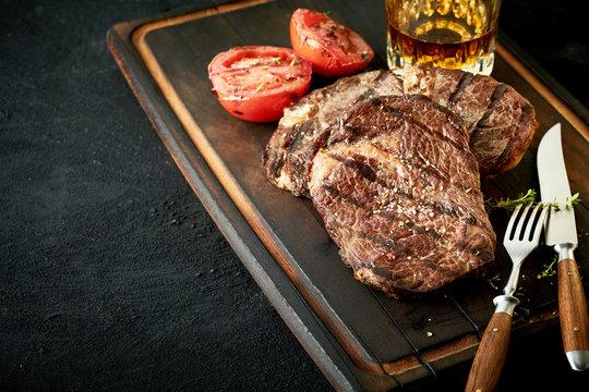 Thick tender grilled rump or sirloin beef steak