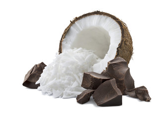 Coconut broken chocolate pile isolated on white