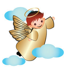 Gold Angel with Clouds Illustration Icon Logo