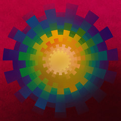 Colorful Mandala against a deep red background