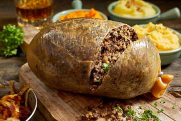 Sliced open cooked Scottish haggis Wall mural