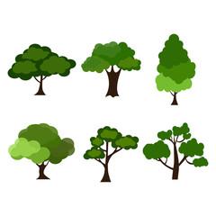 Cartoon garden green tree vector illustration.