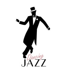 Fototapete - Elegant man wearing classic style clothing dancing jazz. Vector Illustration