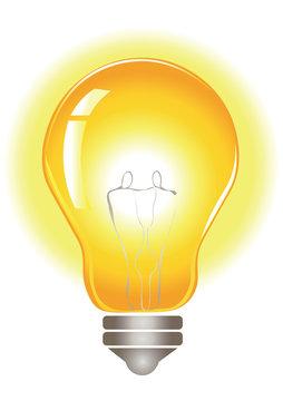 Glowing yellow lightbulb
