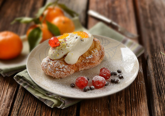 fried cream puffs with ricotta and candied fruit - traditional Sicilian sweet