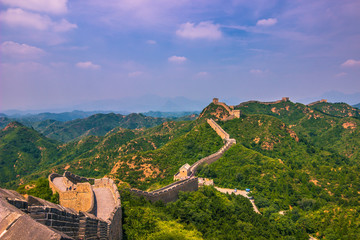China - July 19, 2014: Panorama of the Great Wall of China in Jinshanling