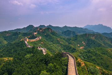 Fotobehang Chinese Muur China - July 19, 2014: Panorama of the Great Wall of China in Jinshanling