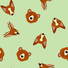 Vector seamless pattern of color animals
