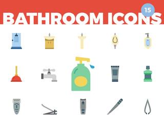 Bathroom Icons (flat) 1 of 5