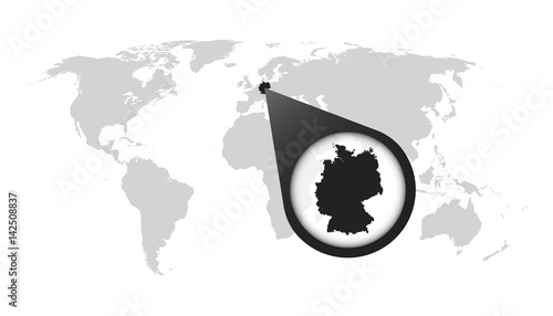 World map with zoom on Germany. Map in loupe. Vector illustration in ...