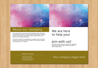 Bifold Brochure with Brown Border Layout 1