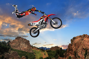 Wall Murals Motor sports Man Performing stunt on Motorcycle