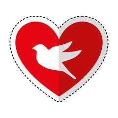 heart romantic with bird vector illustration design