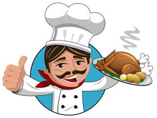 Chef thumb up roasted turkey tray isolated