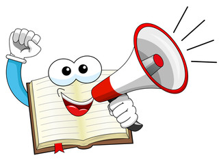 Mascot open book speaking megaphone isolated