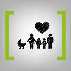 Family sign with heart. Husband and wife are kept children's hands. Vector. Black scribble icon in citron brackets on grayish background.