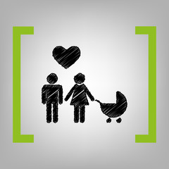 Family symbol with pram and heart. Husband and wife are kept each other`s hands. Love. Vector. Black scribble icon in citron brackets on grayish background.