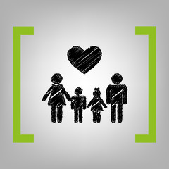 Family symbol with heart. Husband and wife are kept children's hands. Vector. Black scribble icon in citron brackets on grayish background.