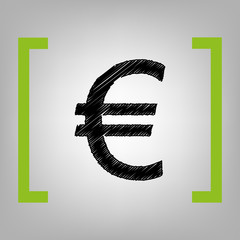 Euro sign. Vector. Black scribble icon in citron brackets on grayish background.