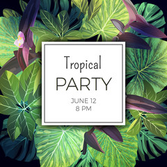 Bright green summer tropical background with exotic palm leaves and pink flowers. Jungle vector floral party flyer template.