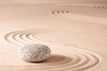 Foto op Plexiglas Stenen in het Zand spiritual meditation zen garden, a concept for relaxation concentration harmony balance and simplicity. Holistic tao buddhism or spa wellness treatment..