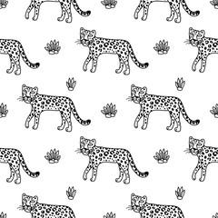 illustration of leopard, graphic vector animal