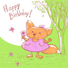 Vector sketch of cute baby greeting card. Cartoon animal little girl fox in a meadow with flower in hand.