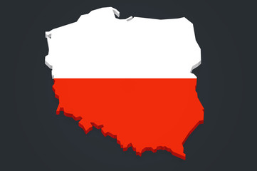 Poland 3D map with flag dark background