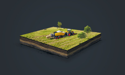 3d illustration of a soil slice, Collection of straw by a combine harvester in bales isolated on dark background
