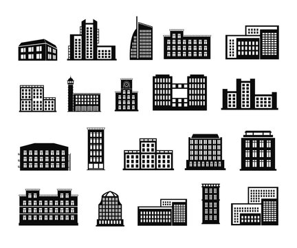 Buildings set of vector illustrations