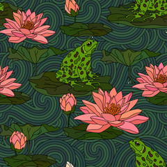 Seamless pattern with water lily.