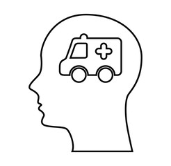 human profile with ambulance vector illustration design
