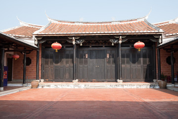 Old Taiwanese house with red lanterns