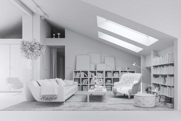 3d render of beautiful interior room