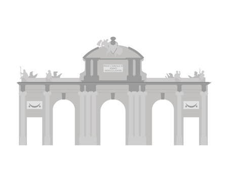 Alcala Gate, Madrid, Spain. Isolated on white background vector illustration.