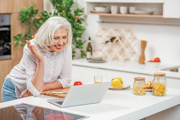 Cheerful senior housewife using computer for communication