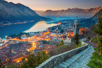 Photo sur Toile Saumon Kotor, Montenegro. Beautiful romantic old town of Kotor during sunset.