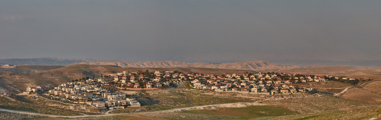 Maale Adumim - 10 February 2017: Maale Adumim settlement, aerial view, panorama