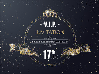 VIP party premium invitation card poster flyer with curving ribbon, crown. Black and golden design template. Vector illustration