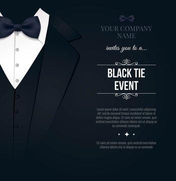 Black Tie Event Invitation. Elegant black and white card. Vector illustration