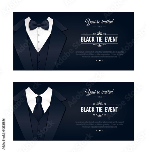 888390f33d33 Two vertical Black Tie Event Invitations. Businessmen banners. Elegant black  and white cards. Black banners set with businessman suits. Vector  illustration