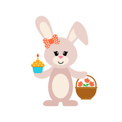 easter cartoon bunny girl with a cake and basket
