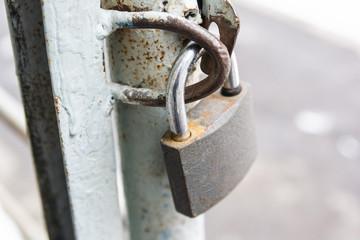 Hanging metal padlock