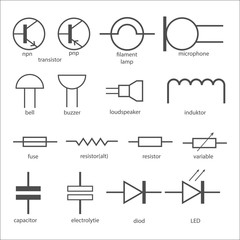 Electric circuit symbols.